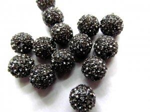 Hematite grey micro pave bling disco ball round spacer  bead Round Hematite Gunmetal Antique Silver Gold gunmetal Finding 20pcs 6-14mm