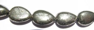 2strands 8-14mm genuine gleaming pyrite  crystal teardrop drop polished iron gold pyrite beads
