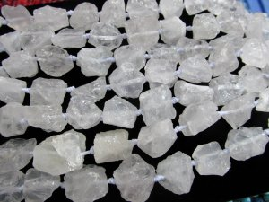 genuine rock crystal beads natural clear white rock quartz nuggets freeform matte loose beads 15-25mm full strand