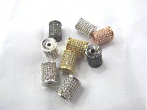 12pcs 8-16mm Micro Pave CZ 24K Gold Black Rhodium Column Tube Beads, Micro Pave Diamond CZ Cubic Zirconia Findings Charm