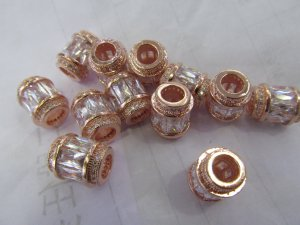 large Diamond Rose gold Micro Pave Cubic Zirconia Beads Cilinder Beads Baget CZ Pave Beads Jewelry Spacer Diamond Sytle 12pcs 10x15mm