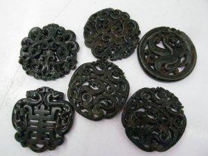6pcs 2.8Iinch  Handmade Ancient Jade Pendant Rare Animals Round Carved Blue Brown Green Red  Jade Gemstone Bead
