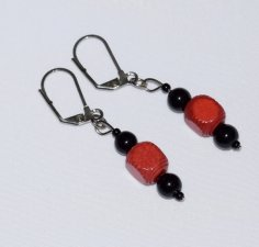 Handmade red & black earrings, vintage square red wood and black beads