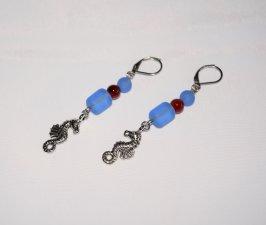 Handmade seahorse earrings, seahorse charm, blue sea glass & red agate beads