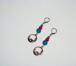 SOLDHandmade mermaid earrings, mermaid charm, teal sea glass and red bamboo coral