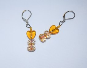Handmade sparkling earrings, honey heart and faceted gold-lined glass beads
