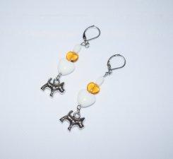 Handmade dog earrings, dog charm, white & honey glass beads