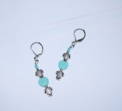 Handmade turtle earrings; turtles, turquoise glass heart and seed beads
