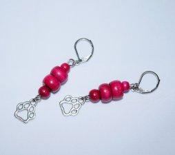 Handmade magenta earrings, pawprint charm & vintage magenta wood beads