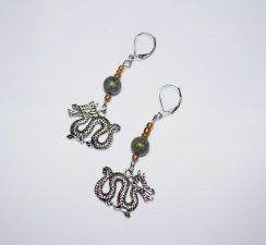 Handmade dragon earrings, dragon charm, green sepentine and amber glass beads