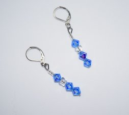 Handmade sparkling blue earrings; Czech crystals, Swarovski butterfly and seed beads