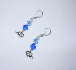 Handmade whale earrings, whale charm with sparkling blue Czech crystals