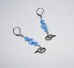 Handmade whale earrings, whale charm with blue Czech glass bicones and glass lentil beads