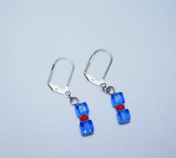 Handmade blue earrings, Czech crystal cubes and red seed beads