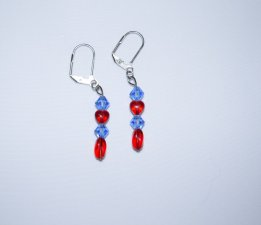 Handmade red & blue earrings, Czech crystals and glass beads