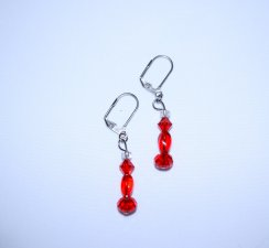 Handmade red earrings, sparkling Swarovski & Czech crystals and glass beads