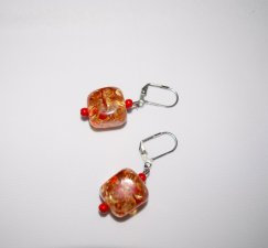 Handmade sparkling earrings, multicolored resin cube,red seed beads