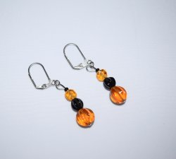 Handmade amber & black earrings, Czech glass and black glass beads