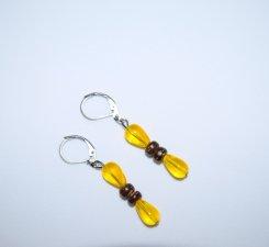 Handmade yellow earrings, glass teardrop beads, vintage wood beads