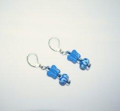 Handmade butterfly earrings, blue butterfly, blue-lined E beads & blue FIMO bead