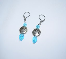 Handmade pawprint earrings, silver plated disc and sky blue crystals