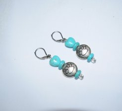 Handmade pawprint earrings, turquoise resin heart & rondelles and glass beads