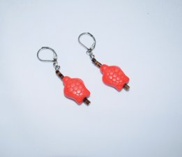 Handmade turtle earrings, coral howlite turle & brown shell heishi beads