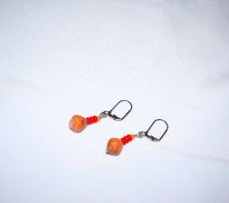 Handmade orange earrings, rolled paper bead, red glass rondelles and orange seed bead