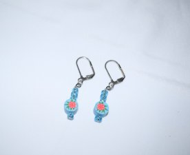 Handmade blue earrings, flowered polymer clay disc and sparkling blue seed beads
