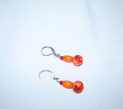 Handmade orange & red earrings, glass and vintage wood beads