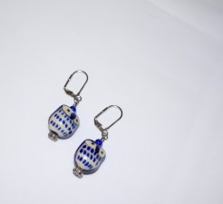 Handmade owl earrings, royal blue owl porcelain bead, crystal flower and blue glass beads