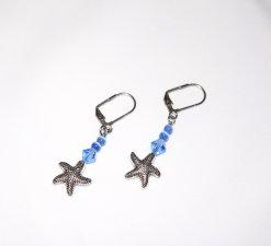 Handmade starfish earrings, blue Swarovski crystal and cat™s eye beads, starfish charm