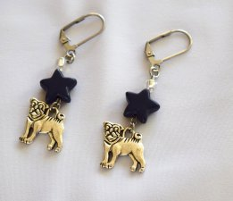 Handmade dog earrings, navy blue howlite star, sparkling white seed beads, dog charm