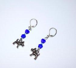 Handmade dog earrings, cobalt blue heart and star beads, dog charm, rainbow seed beads