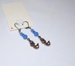 Handmade mermaid earrings,mermaid charm, blue sea glass and seed bead