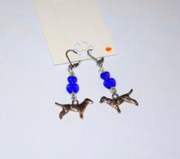 Handmade dog earrings, dog charm, blue hearts and white rainbow beads