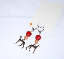 Handmade dog earrings, dog charm, aventurine and red glass beads