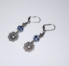Handmade blue flower earrings, painted porcelain bead, antiqued silver flower bead and charm