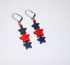Handmade red & blue star earrings, howlite star beads in red and blue