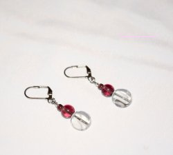 Handmade purple earrings, transparent clear coin bead, purple glass beads