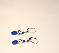 Handmade blue earrings, blue cat™s eye oval, painted porcelain and blue resin beads