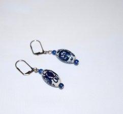 Handmade blue earrings, painted porcelain bead, lapis blue resin beads