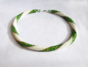 Beaded Crochet Necklace, spring shades