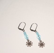 Handmade snowflake earrings, pale blue crystal and beads, snowflake charm