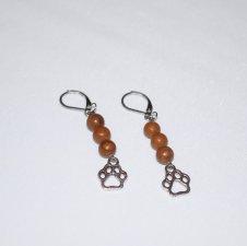 Handmade brown papwprint earrings, brown tigerskin jasper beads, pawprint charm