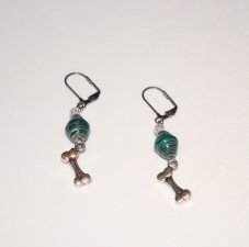 Handmade green earrings, dog bone charm, green paper bicone, crackle glass bead