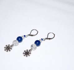 Handmade snowflake earrings, crackle glass and lapis blue resin beads, snowflake charm