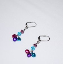 Handmade jingle bell earrings, purple and aqua crystals, purple, aqua and fucshia jingle bells