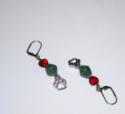 Handmade pawprint earrings, green paper bicone, red glass heart, pawprint charm