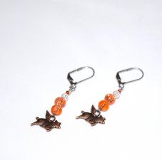 Handmade flying pig earrings, peach and clear crackle glass beads, copper colored flying pig charm